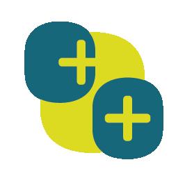 Drie staande afgeronde rechthoeken die elkaar deels overlappen. Linksboven heeft de rechthoek een geel/groen plusje staan dat de rechterzijde raakt, dit duit op het oor. De rechthoek rechtsonder heeft een geel/groen plusje in het midden. Dit duit op het oog