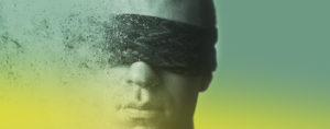 De afbeelding van een man met een blinddoek over zijn ogen, vergruisd vanaf zijn linker kans naar alleen nog maar een paar stippeltjes. Dit symboliseerd het zicht dat steeds verder afneemt. De foto is beperkt met een groen geel verloop over de foto, zodat deze goed bij de huisstijl van de website past.