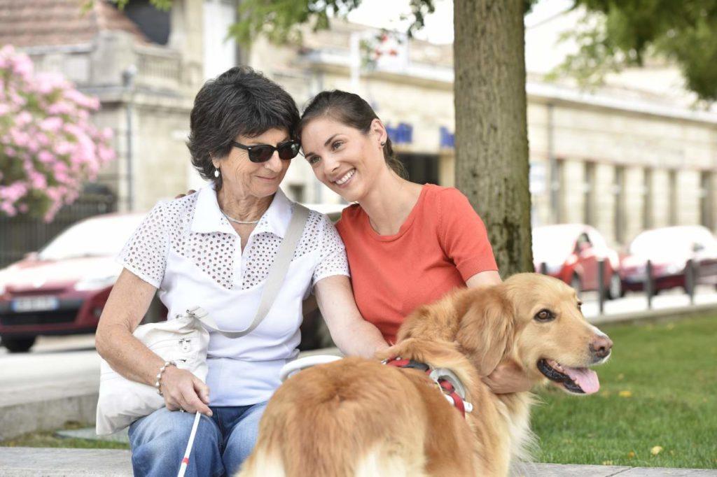 Een oudere vrouw met geleidehond en geleidestok, zit gemoedelijk op een bankje met een andere vrouw