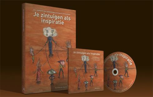 Het boek en de CD met baksteenkleurige voorkant met een tekening uit het boek erop.