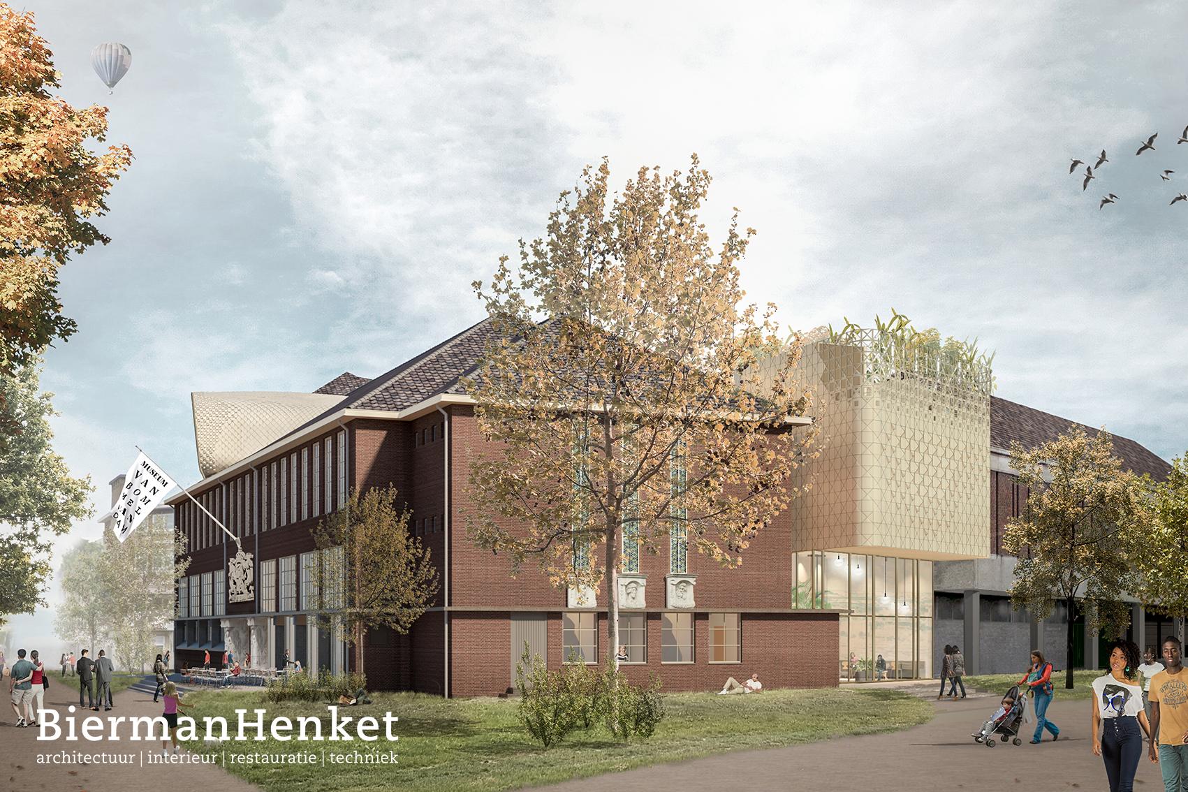 Een illustratie van hoe het nieuwe museum eruit zal gaan zien. Een gebouw van rode bakstenen met veel ramen en een grijs puntdak met pannen. Aan een zijkant van het gebouw is een moderne uitbouw.