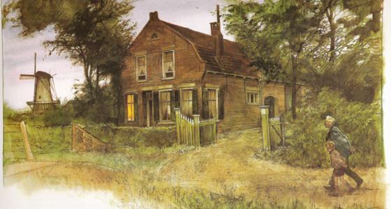 Een van de tekeningen van Rien Poortvliet met hierop een boerderij met heg er omheen en aan weerszijde een boom