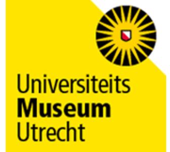 Het logo van het Universiteitsmuseum Utrecht; een zwart rondje met daarin een gele zon met stralen tot de rand van de cirkel. In het midden een rood wit schild.