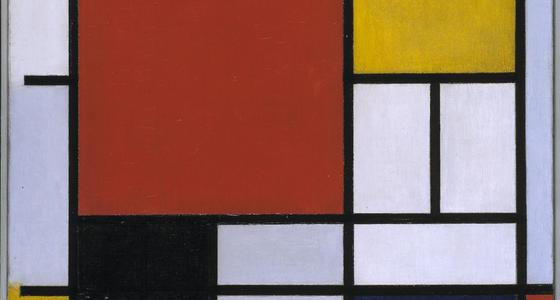 Een afbeelding van een schilderij van Mondriaan herkenbaar aan de verschillende rechthoekige vlakken in rood, geel, blauw en wit, omrand met dunne en dikke zwarte lijnen