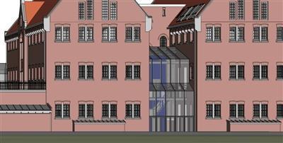 Een digitale tekening van het aangezicht van het museum met de roze/rode muren en glazen entreepui.