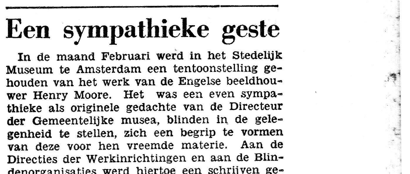 Het eerste deel van een krantenknipsel uit de Blindenboden van 1950. Het volledige krantenbericht is gepubliceerd in dit artikel