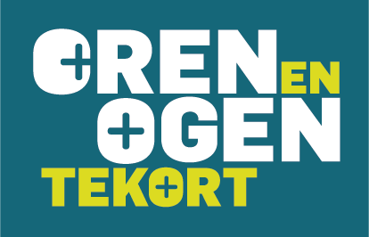 Op een aqua blauw achtergrond staat de tekst Oren en Ogen tekort in witte en geel/groene letters