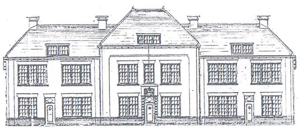 Een zwart wit tekening van het gebouw waar de stichting in gevestigd is. Het is een statig huis van 3 verdiepingen. De 3e verdieping ligt onder een schuin dak en heeft een dakkapel