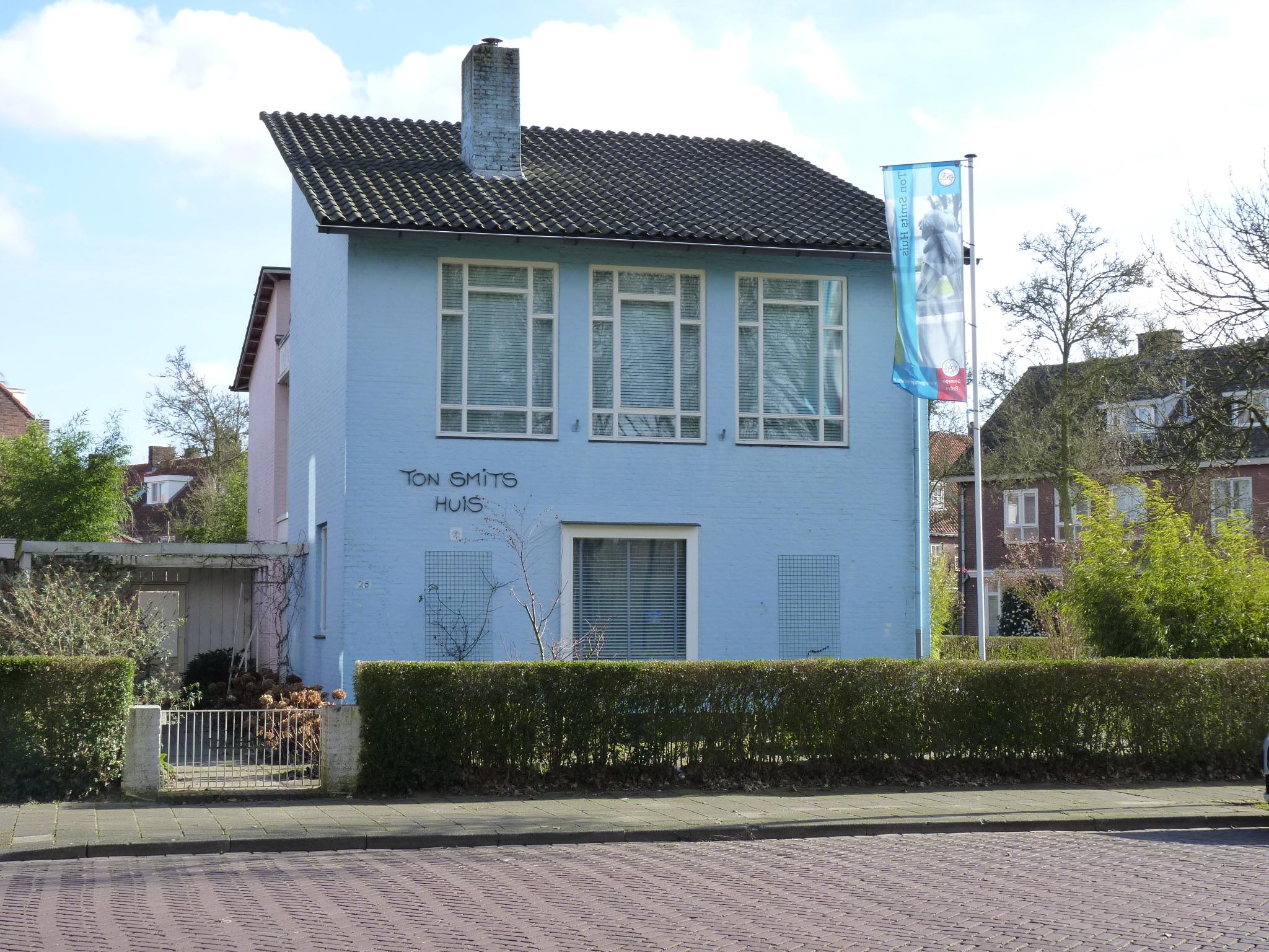 Een klein licht blauw huisje van twee verdiepingen met een groene buxushaag voor de deur. Het huis heeft een grijzen pannendak en het lijkt of het achterste deel van de woning roze is van kleur.