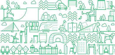 Een illustratie bestaande uit groene lijntekeningen van bekende gebouwen in Rotterdam. Poppetjes van jong tot oud, met en zonder beperking. Maar ook vervoersmiddelen en en activiteiten. Alles wat staat voor het onbeperkt kunnen deelnemen aan alles wat Rotterdam te bieden heeft.
