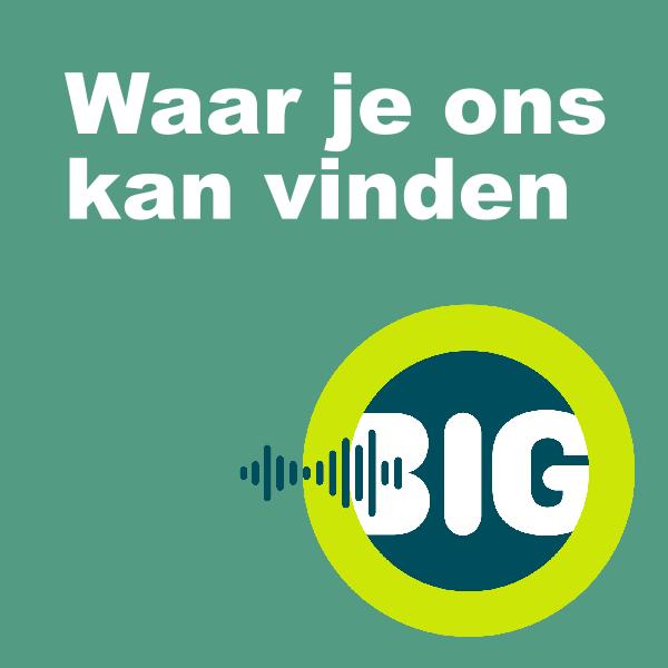 een button met de tekst: Waar je ons kan vinden, en daarbij het  beeldmerk van BiG