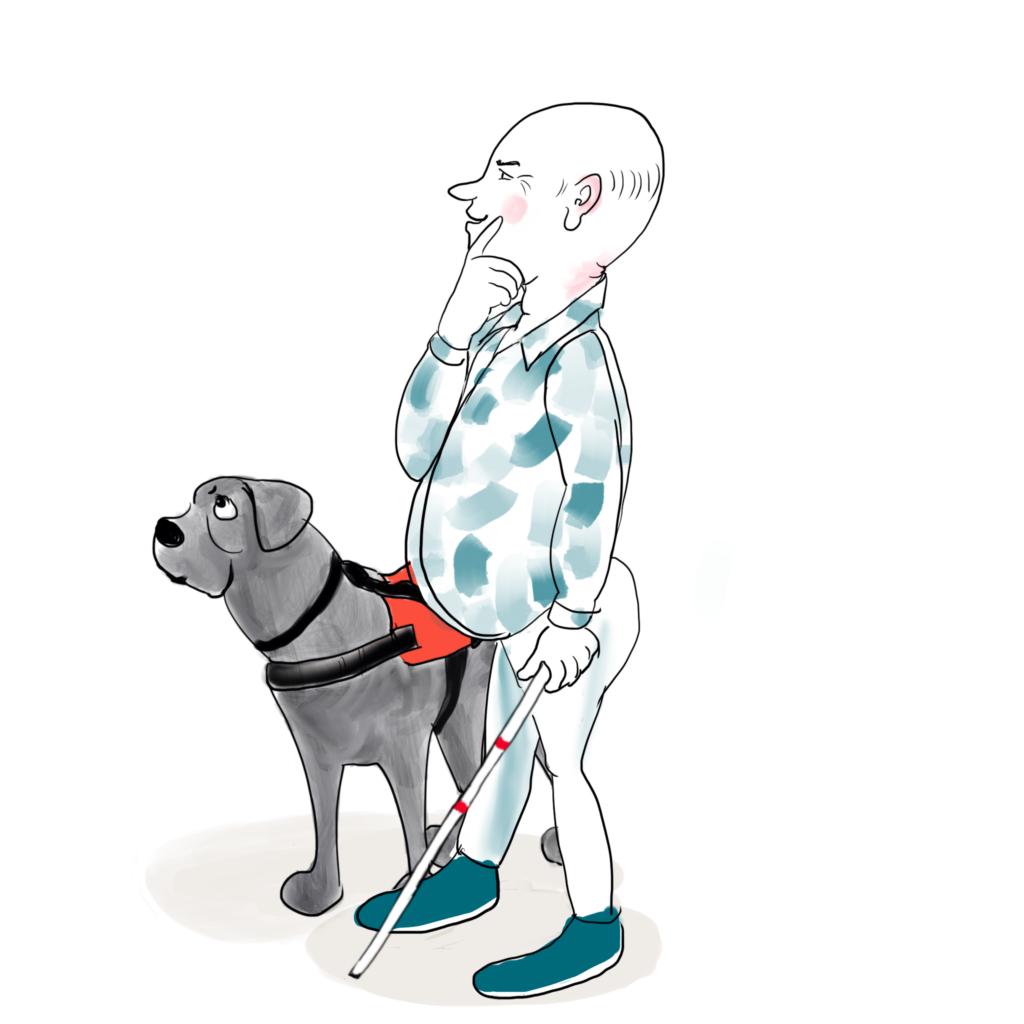 Een illustratie van een man met dikke buik en kaal hoofd die samen met zijn hond bedachtzaam voor zich uit kijkt.