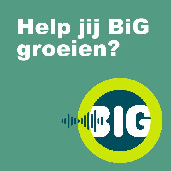 een button met de tekst: Help jij BiG groeien? en daarbij het beeldmerk van BiG