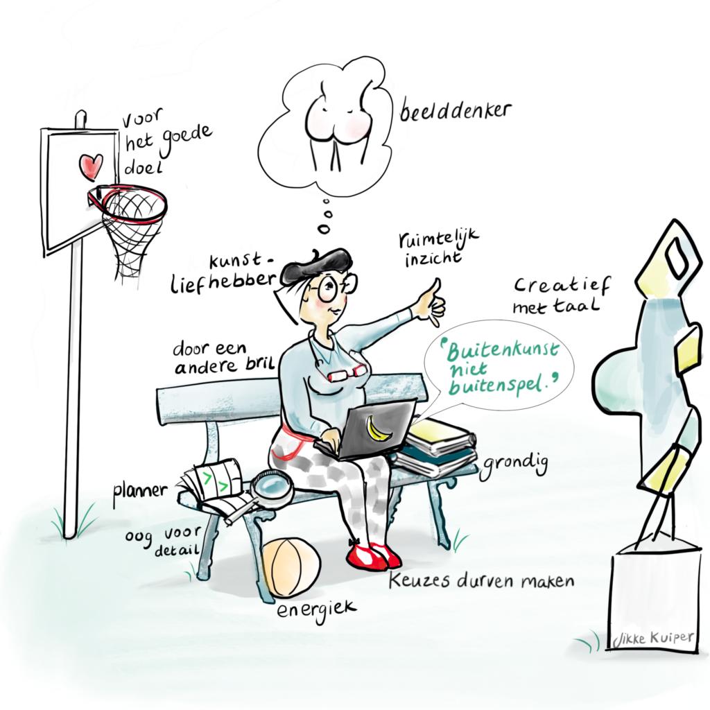Een illustratie van een vrouw op een bankje met allemaal vewijzingen in woorden en voorwerpen die aangeven wat een goede beeldbeschrijver is.