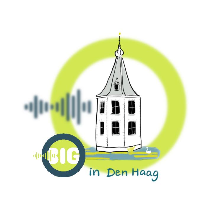 Een gestileerde tekening van het torentje in Den Haag met daarachter de cirkel en geluidswave van het beeldmerk van Beeld in Geluid