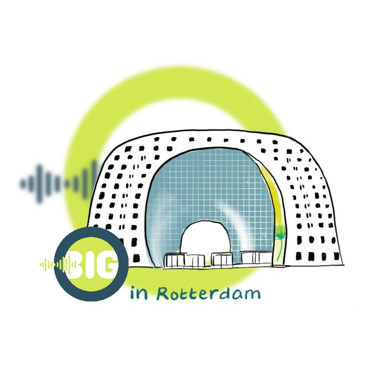 Een gestileerde tekening van de markthal met daarachter de cirkel en geluidswave van het beeldmerk van Beeld in Geluid